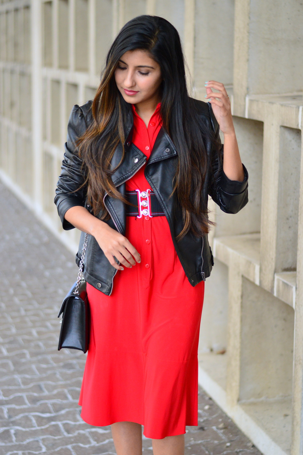 red-midi-shirtdress-leather-jacket-date-night-outfit