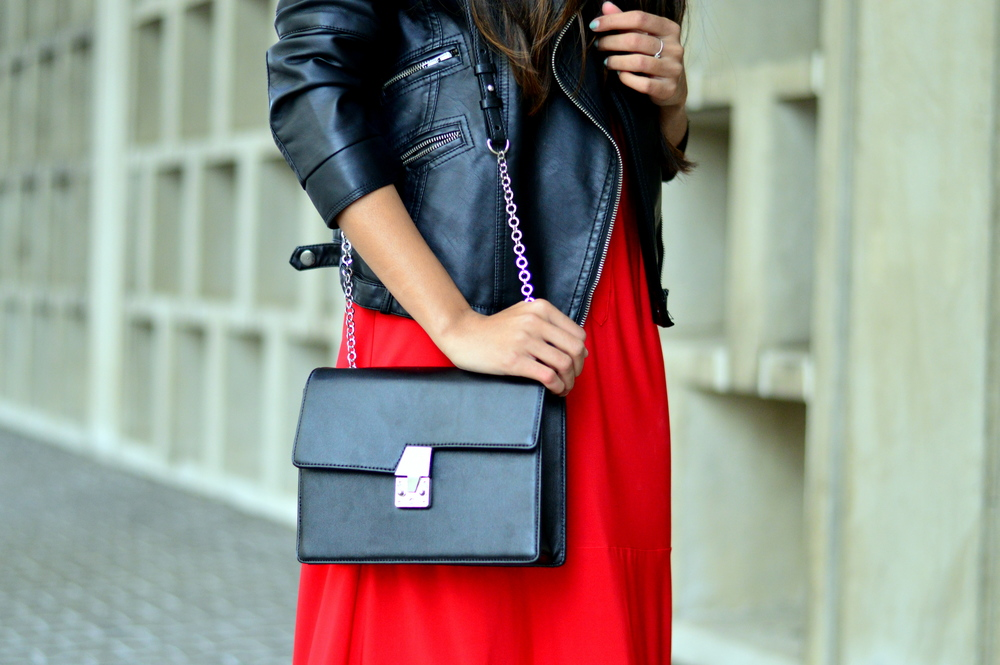 red-midi-shirtdress-spring-style-leather-accessories