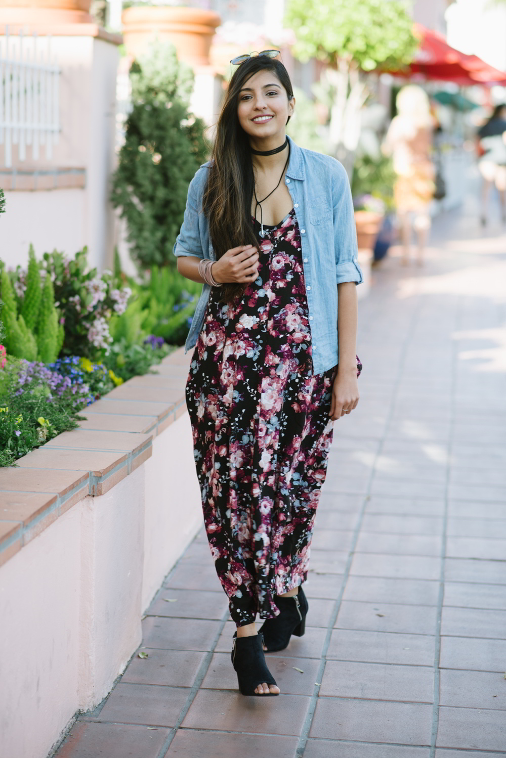 boho-casual-floral-maxi-dress-chambray-shirt 1