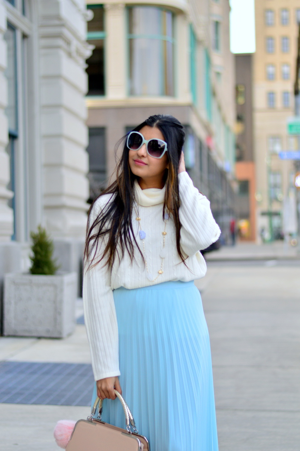 blue-pleated-maxi-skirt-turtleneck-sweater 2
