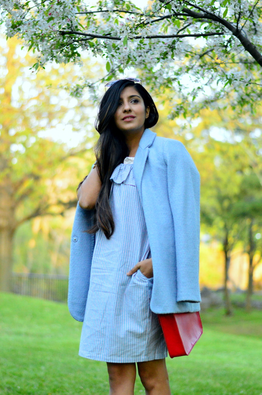 Off-Shoulder-striped-Chambray-Dress 5