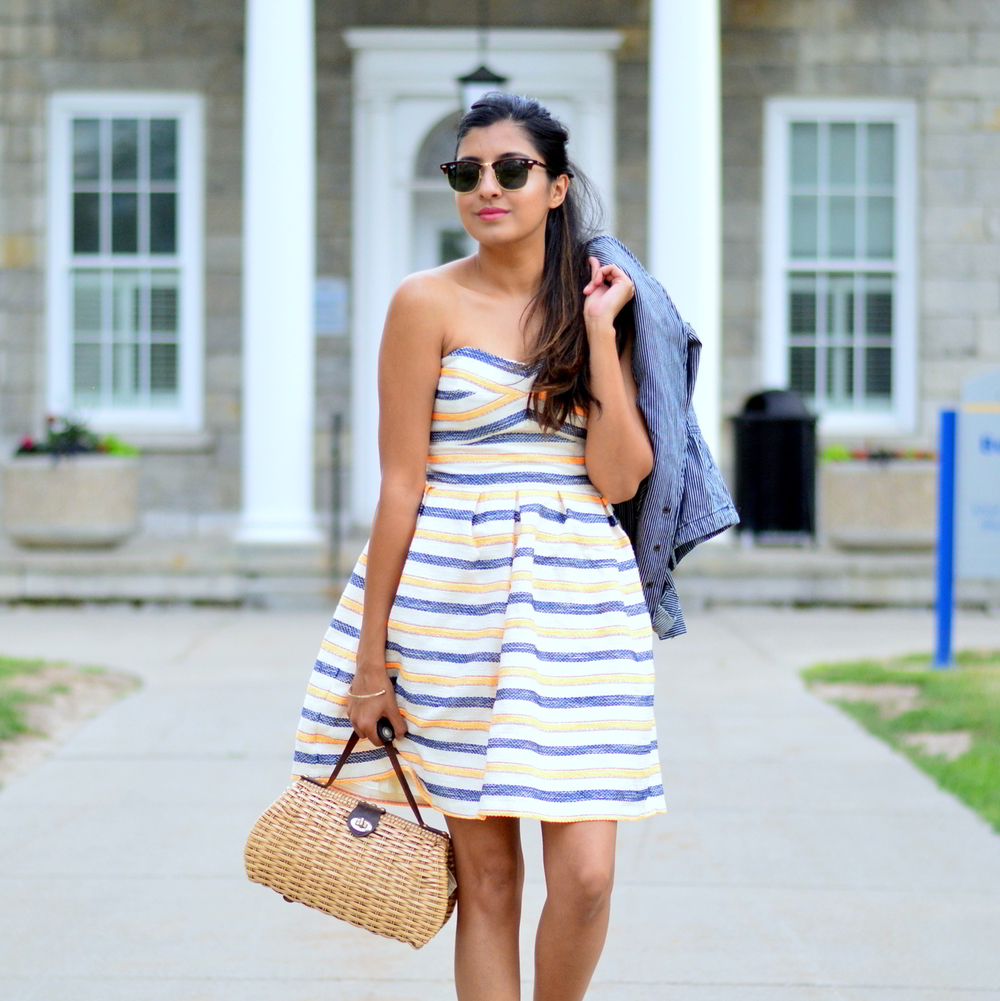 summer-striped-dress-denim-jacket-blogger-style-outfit 2