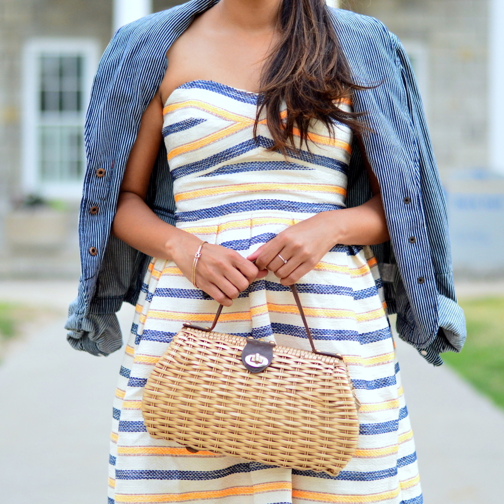 summer-striped-dress-denim-jacket-blogger-wicker-bag 4