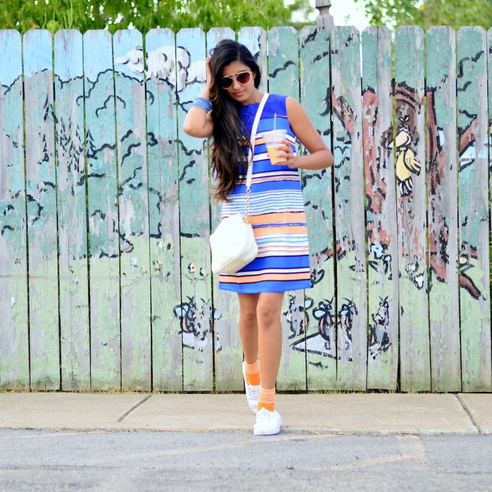 striped-laceup-dress-sneakers-summer-outfit 1
