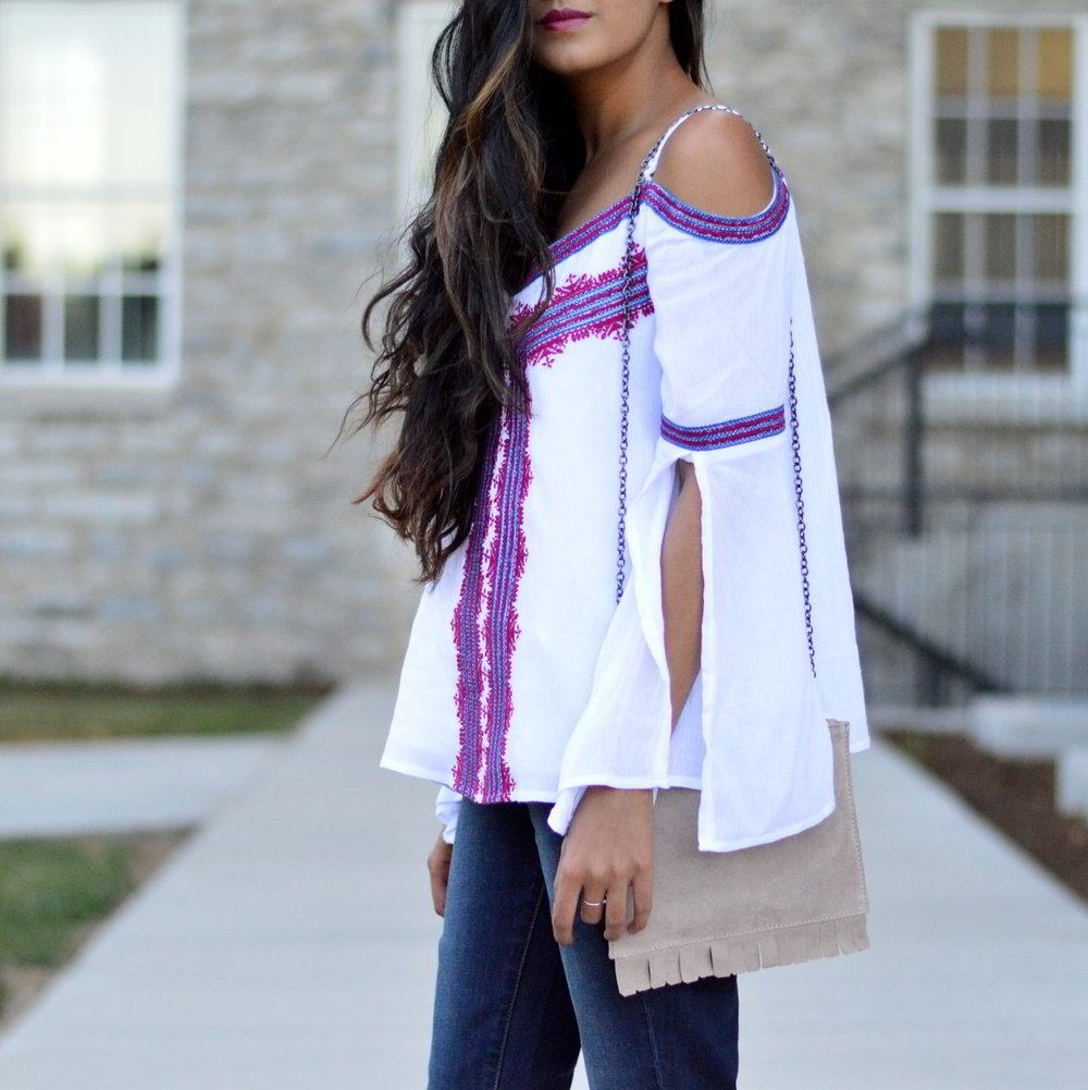 fall-outfit-inspiration-flared-jeans-cold-shoulder-bohemain-split-sleeve-style 4