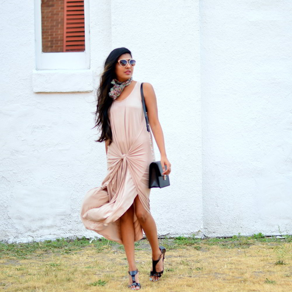 tie-front-nude-midi-dress-vintage-scarf-neutrals-summer-style 1