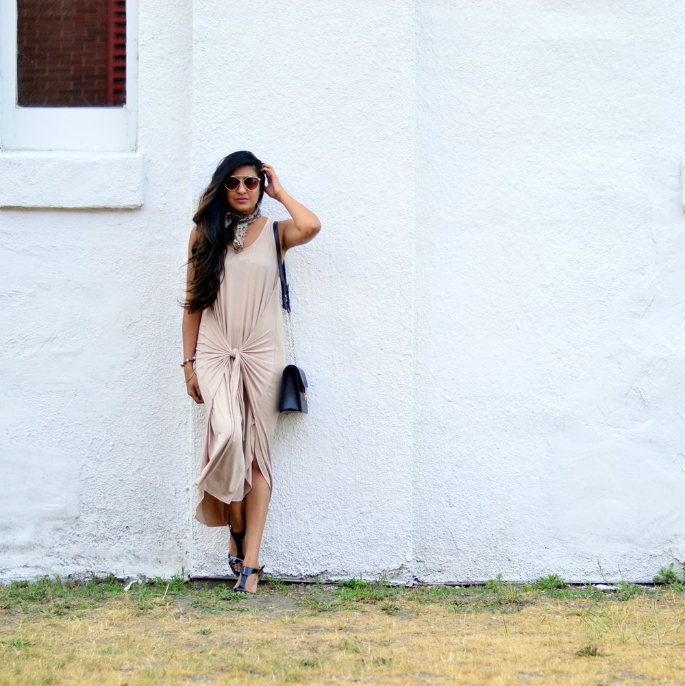 tie-front-nude-midi-dress-vintage-scarf-neutrals-summer-blogger-style 3