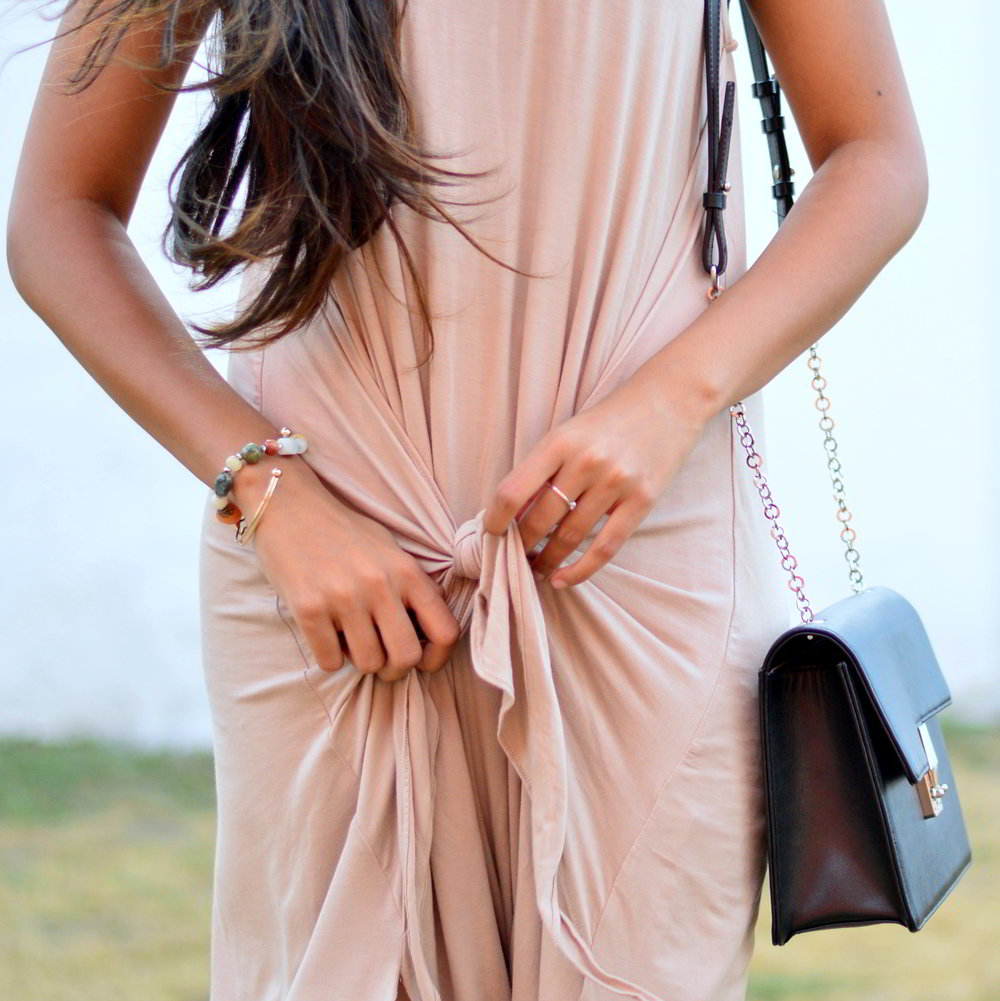tie-front-nude-midi-dress-vintage-scarf-neutrals-summer-casual-style 4