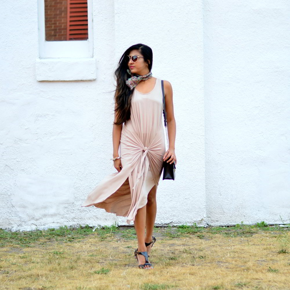 tie-front-nude-midi-dress-vintage-scarf-neutrals-summer-style 5