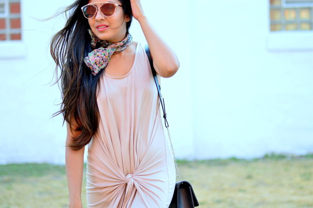 tie-front-nude-midi-dress-vintage-scarf-neutrals-summer-style 6