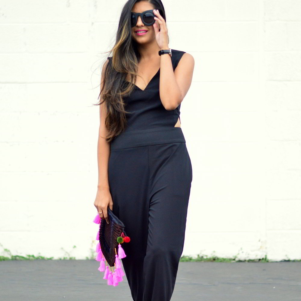 black-cutout-jumpsuit-monochrome-tassels-statement-accessories-fall-transition-style 5
