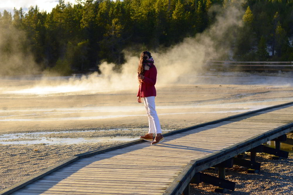 striped-shirt-white-jeans-fall-layers-classic-style-blogger-travel-norris-geyser-basin