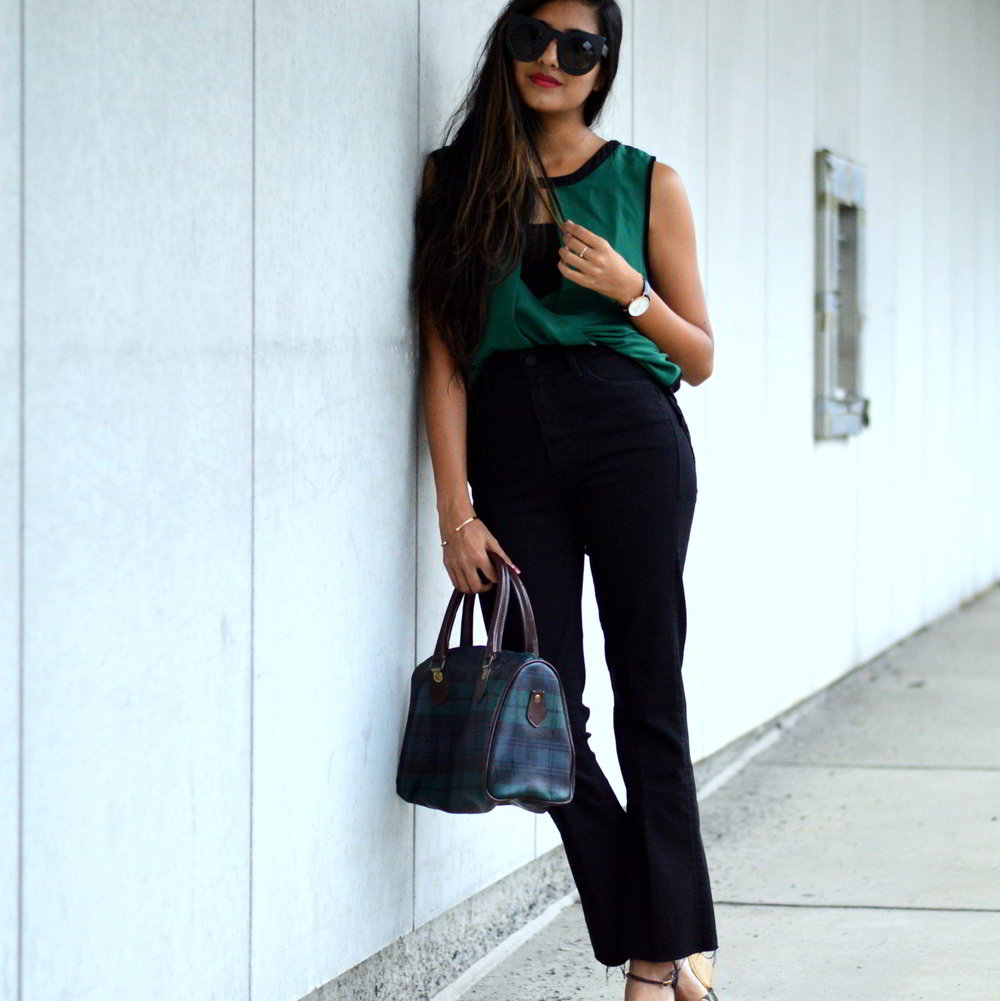 workwear-fall-style-emerald-silk-blouse-cropped-flared-jeans 6