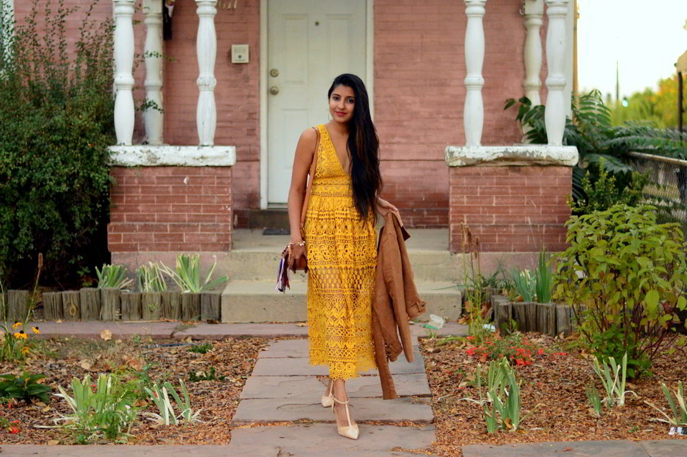 mustard-lace-midi-dress-suede-jacket-fall-style-blogger-outfit