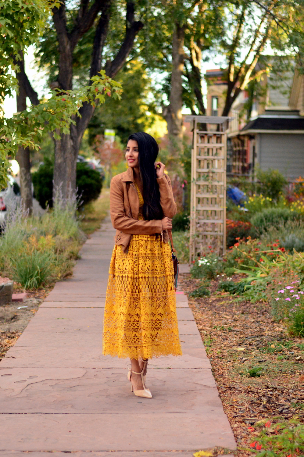 mustard-lace-midi-dress-suede-jacket-fall-style-blogger-outfit 3