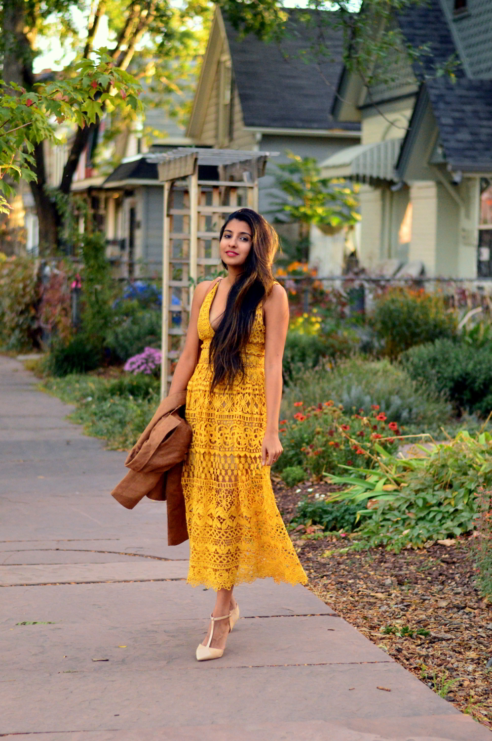 mustard-lace-midi-dress-suede-jacket-fall-style-blogger-outfit 5