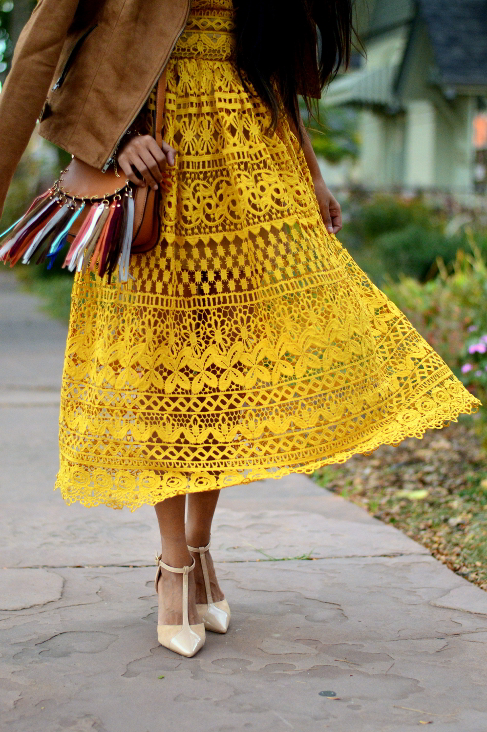 mustard-lace-midi-dress-suede-jacket-fall-style-blogger-outfit 8