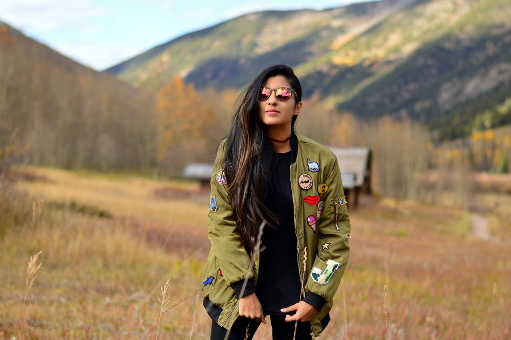 Patchwork-bomber-jacket-fall-fashion-blogger-outfit-colorado-travel 1