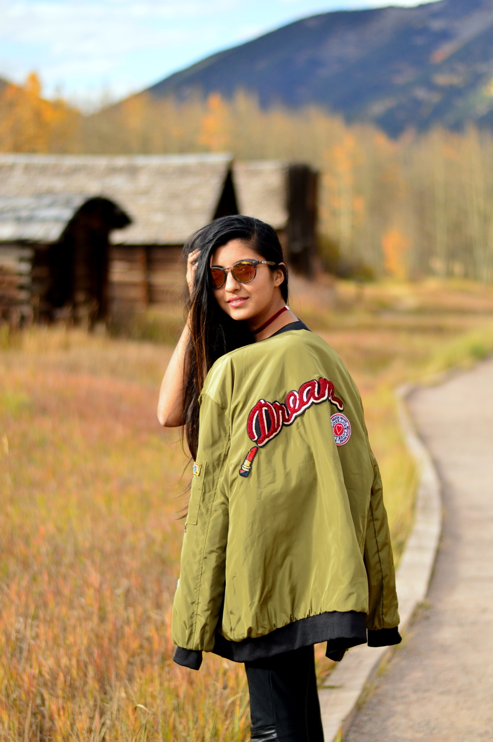 Patchwork-bomber-jacket-fall-fashion-blogger-outfit-colorado 4