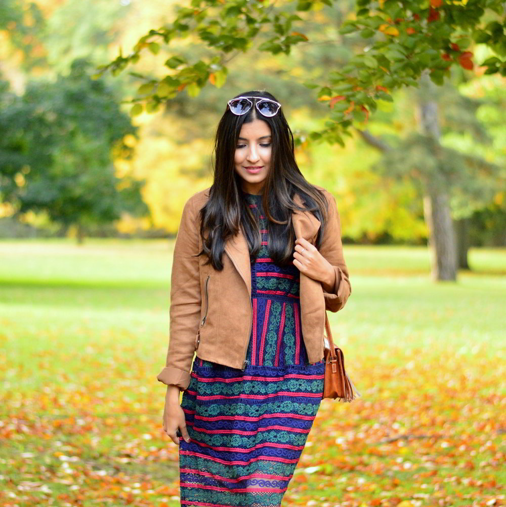 lace-multicolored-maxi-dress-suede-jacket-fall-style-blogger-outfit 3