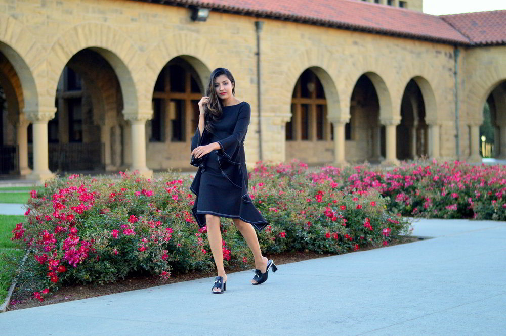 little-black-dress-bell-sleeves-holiday-season-mules-blogger-outfit-style 1