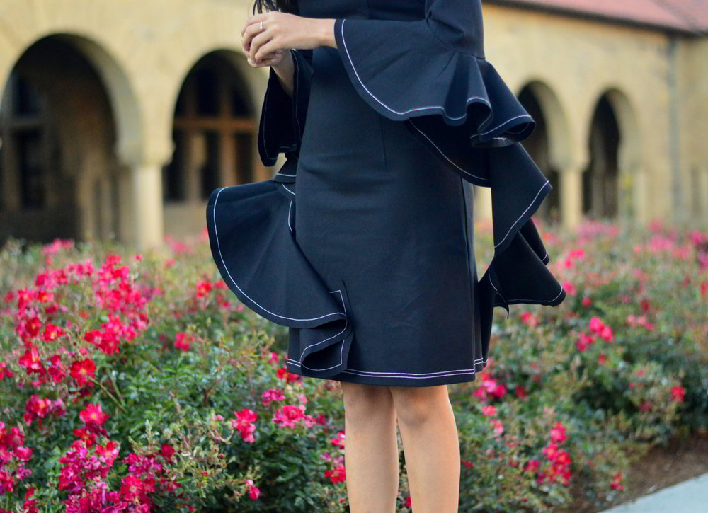 little-black-dress-bell-sleeves-holiday-season-mules-blogger-outfit-style 3