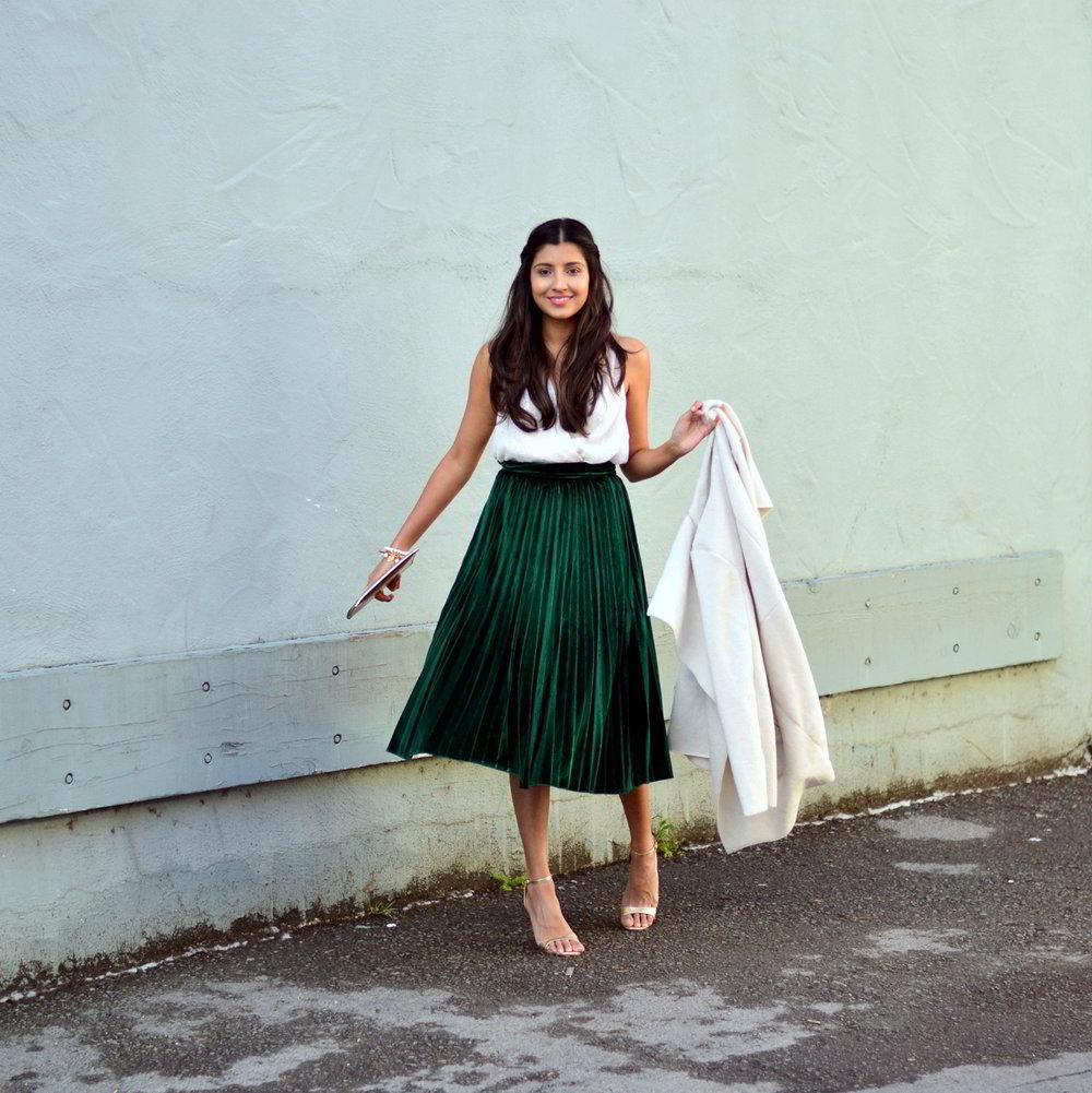 e0acac250a5898 Green Velvet Pleated Midi Skirt | Huston Fislar Photography
