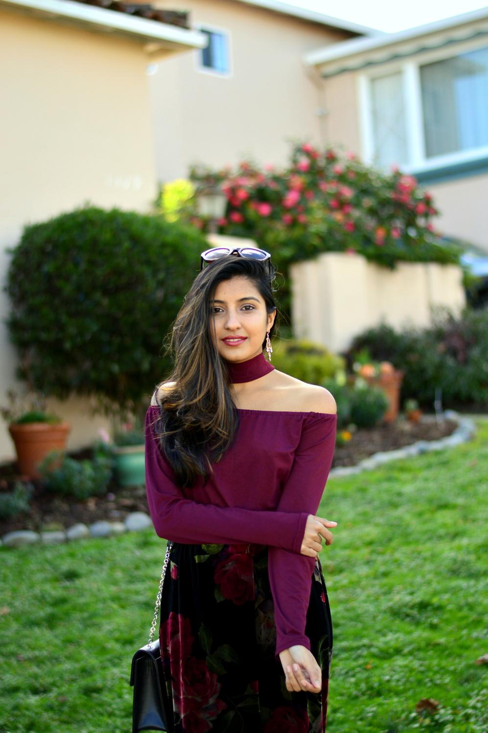velvet-floral-skirt-choker-burgundy-top-party-outfit-NYE-blogger 2