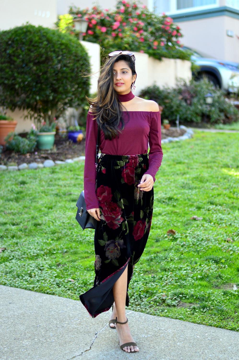 velvet-floral-skirt-choker-burgundy-top-party-outfit-NYE-blogger 5