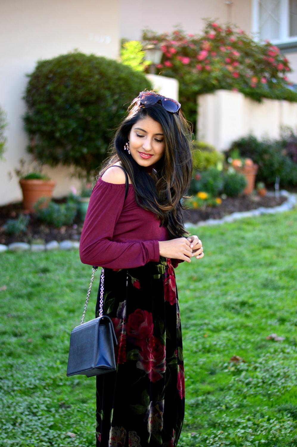 velvet-floral-skirt-choker-burgundy-top-party-outfit-NYE-blogger 6