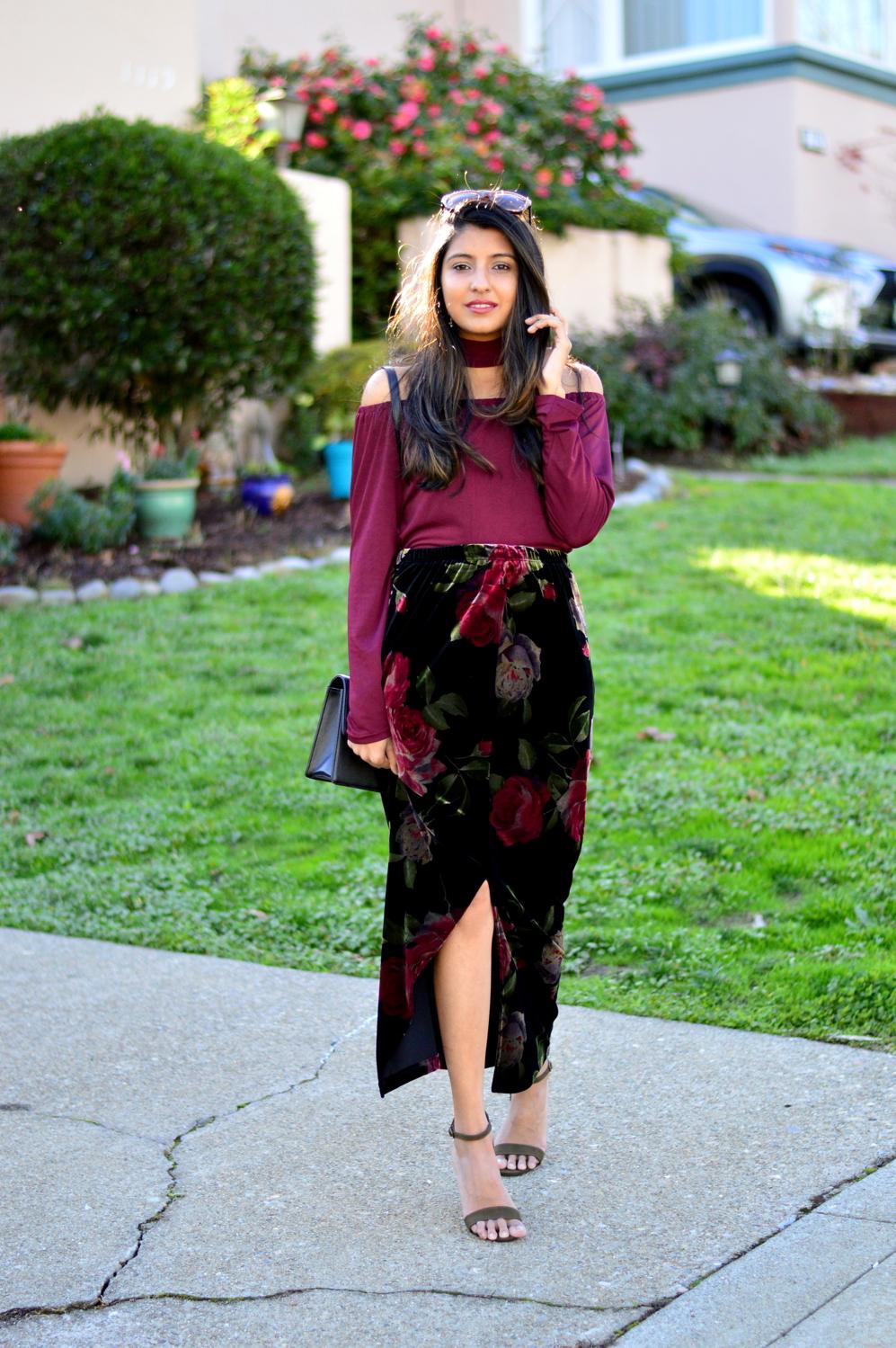 velvet-floral-skirt-choker-burgundy-top-party-outfit-NYE-blogger 7