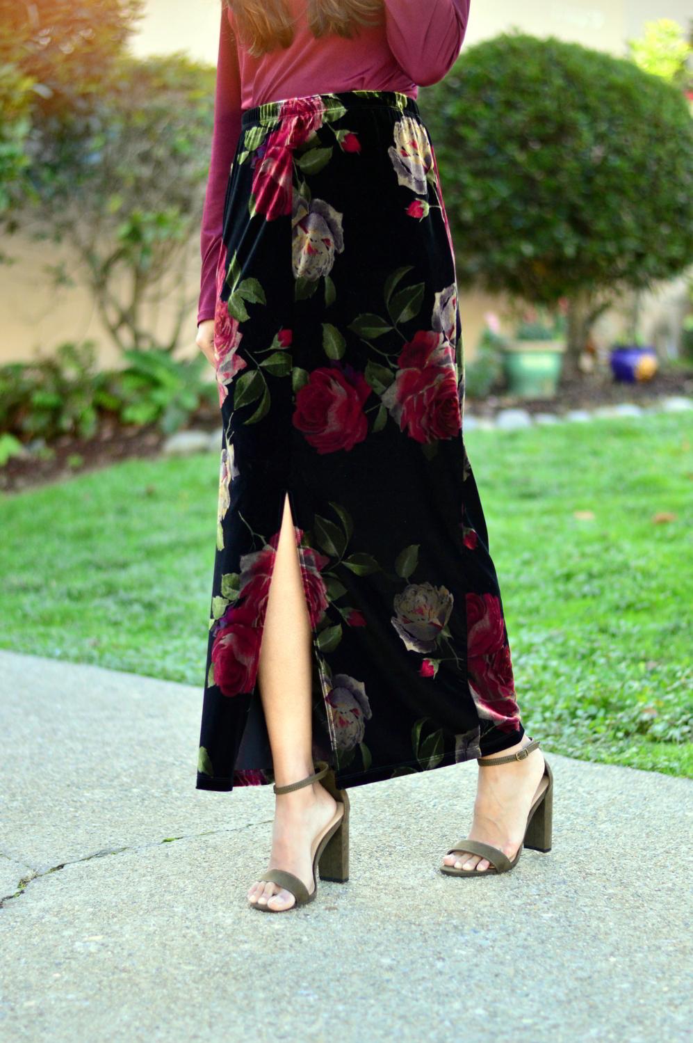 velvet-floral-skirt-choker-burgundy-top-party-outfit-NYE-blogger 8