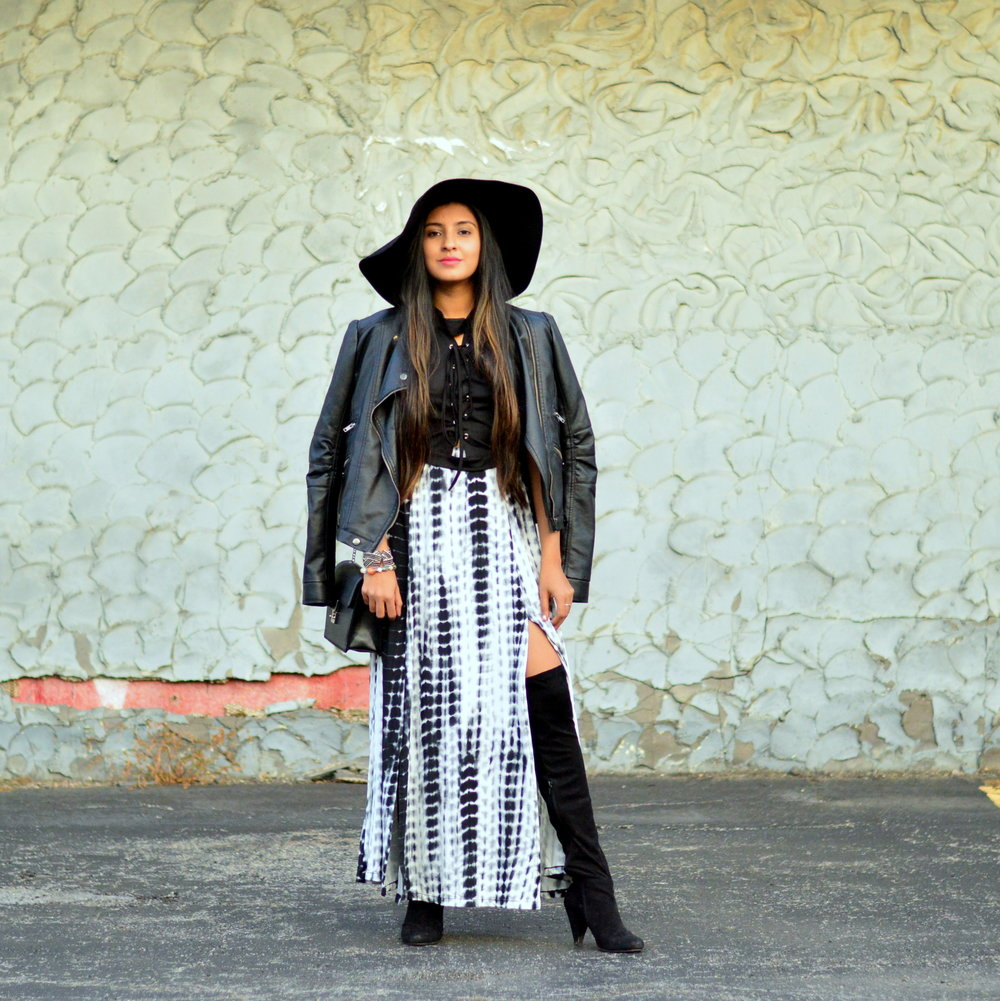 Tie Dye Maxi Skirt Leather Jacket Boho Chic