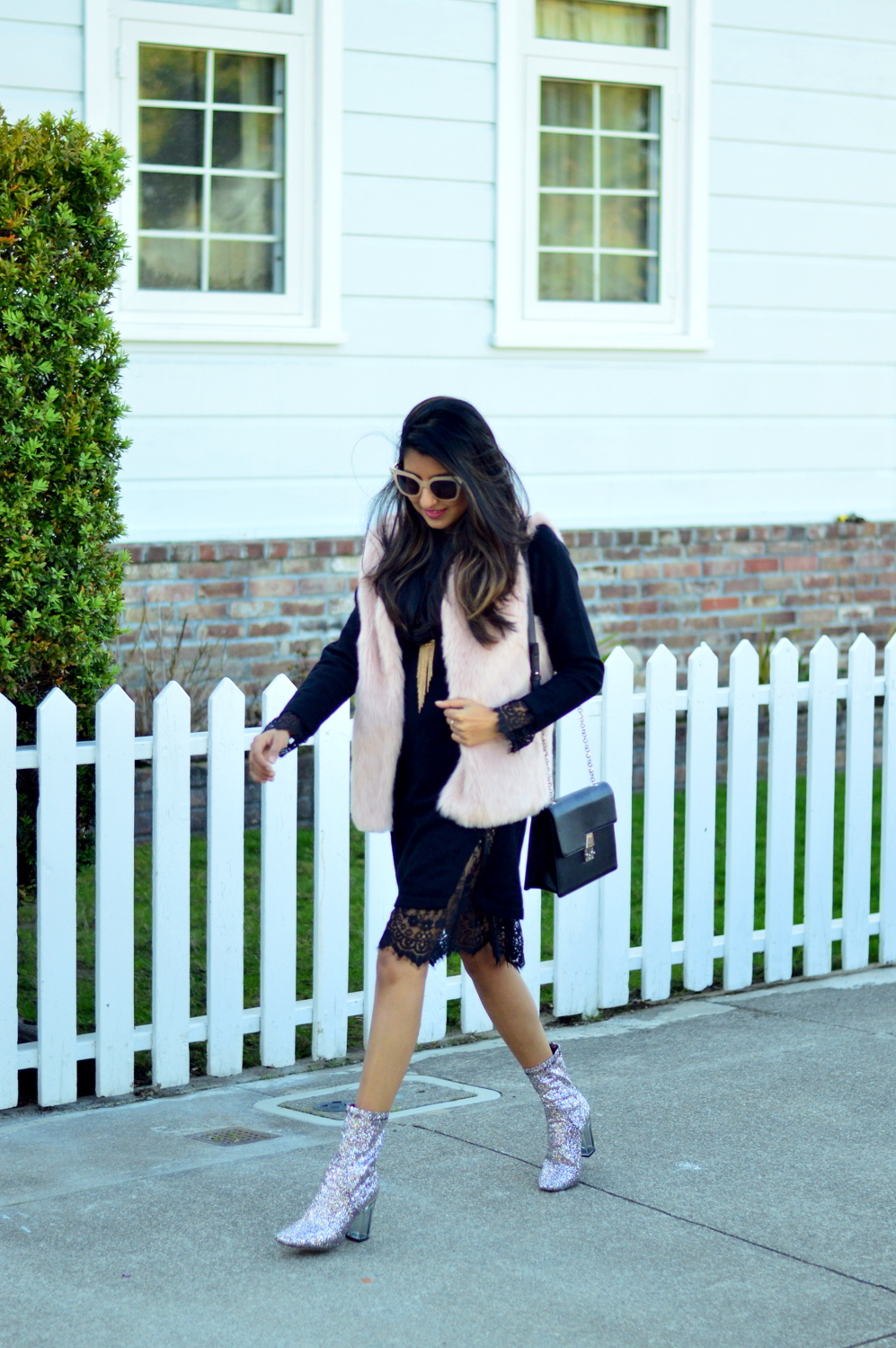 california-winter-layers-sweater-dress-lace-faux-fur-vest-glitter-ankle-boots-outfit 3