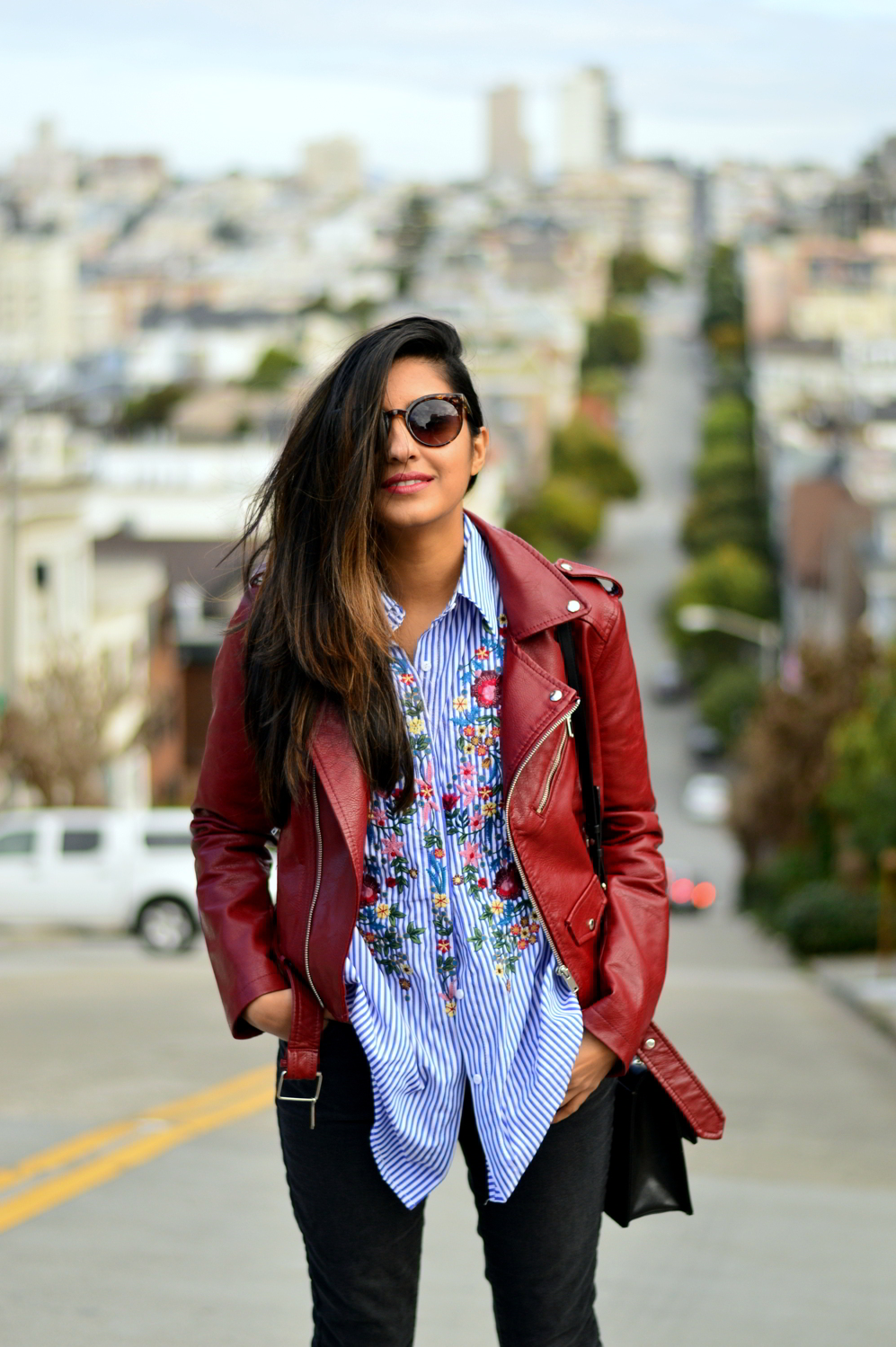 embroidered-classic-buttondown-striped-shirt-leather-jacket-merlot-blogger-san-francisco-style-stripes 2