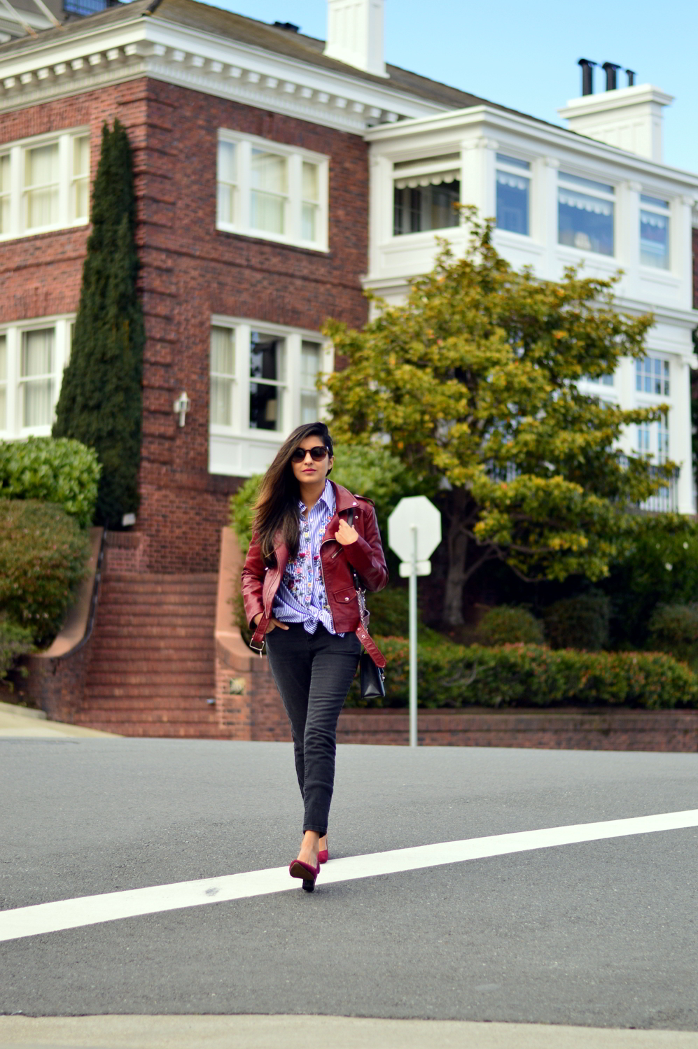embroidered-classic-buttondown-striped-shirt-leather-jacket-burgundy-winter-san-francisco-style-blogger 3