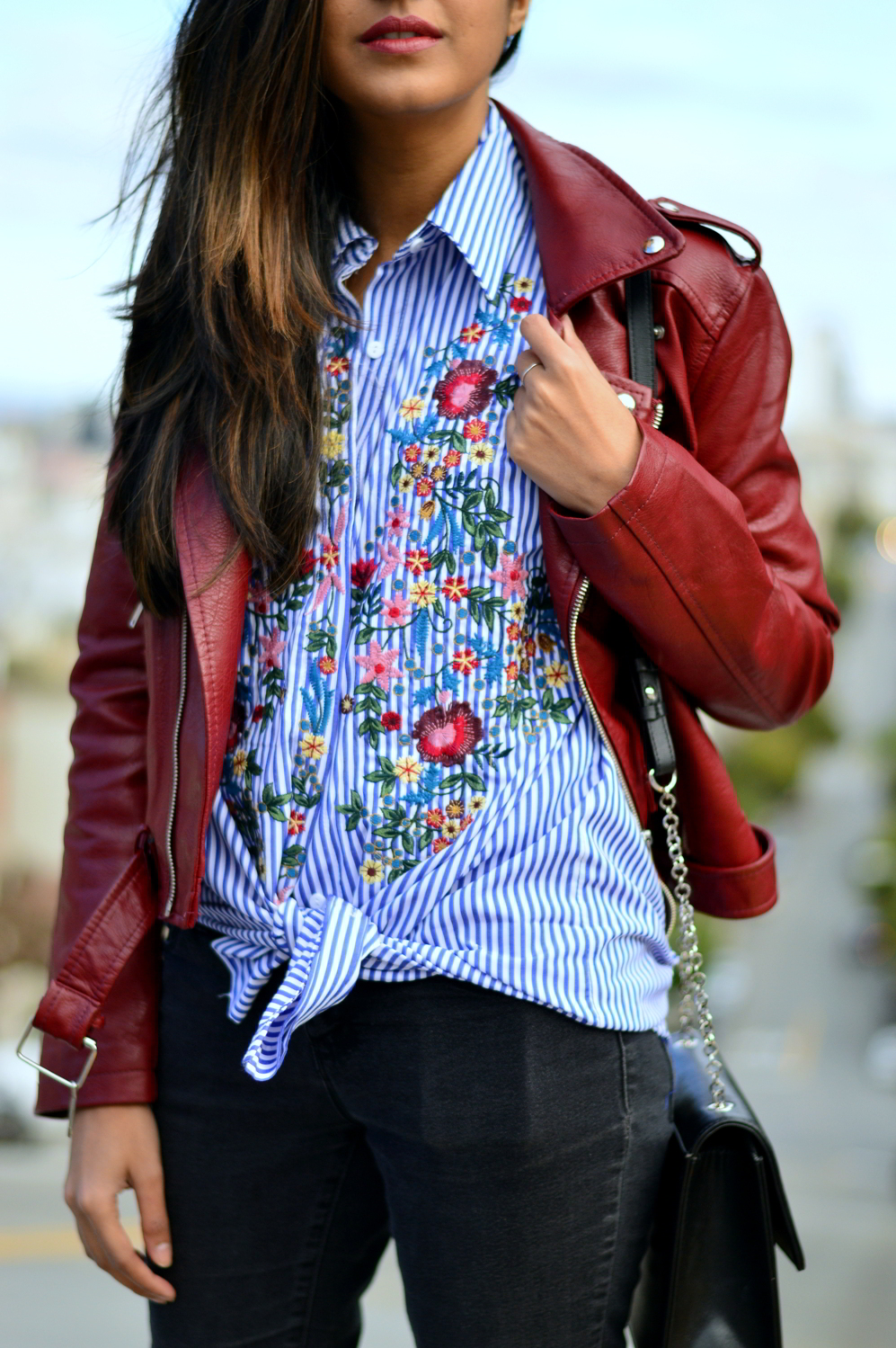 embroidered-classic-buttondown-striped-shirt-florals-leather-jacket-spring-california-style 4