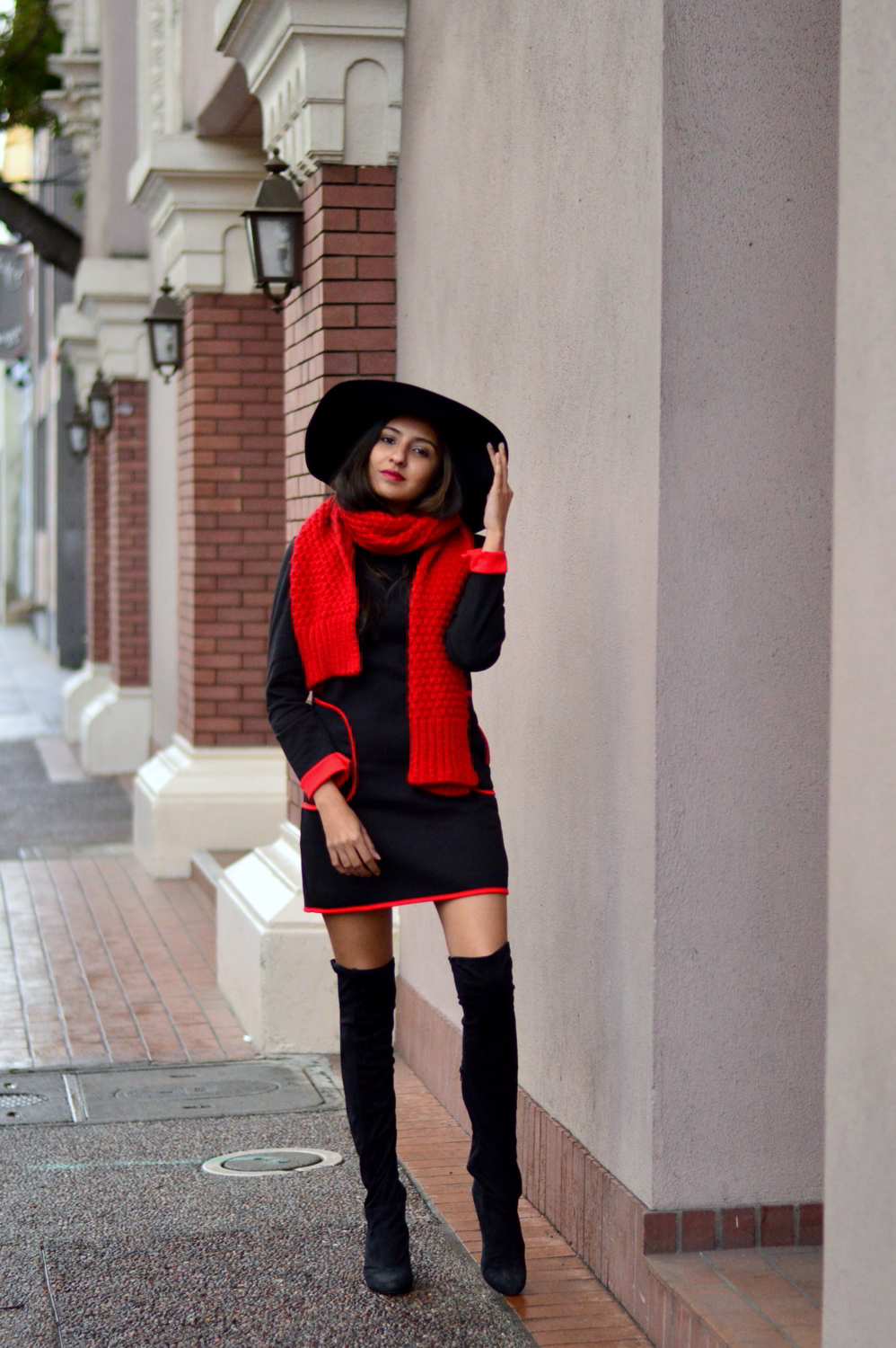sweater-dress-mod-red-blanket-scarf-winter-style-over-the-knee-boots-blogger-outfit 3