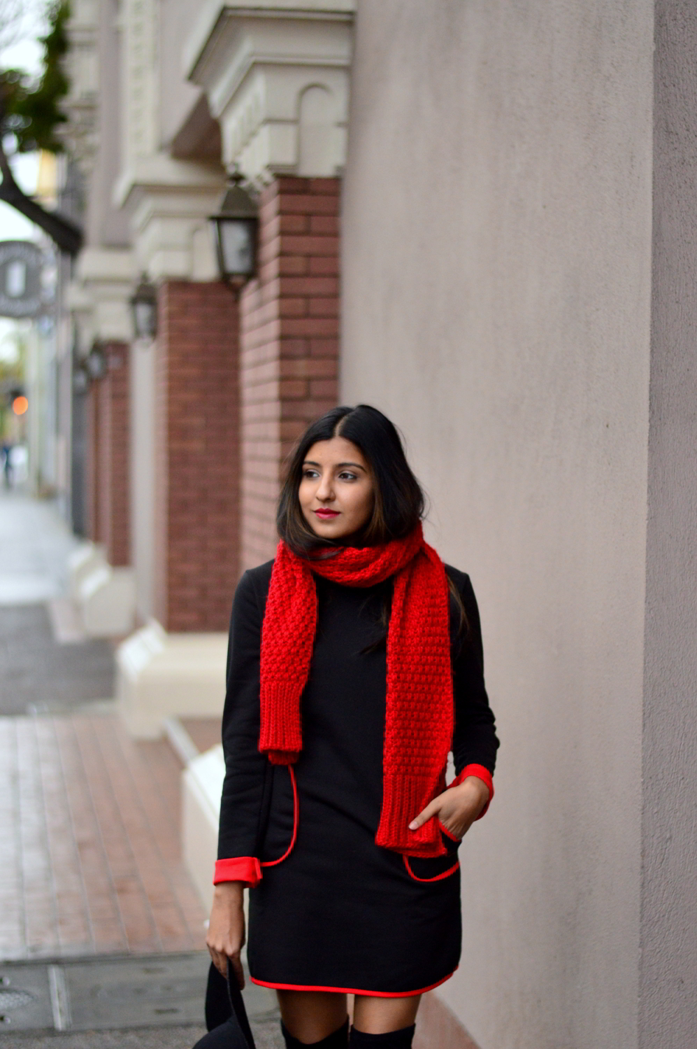 sweater-dress-mod-red-blanket-scarf-winter-style-over-the-knee-boots-blogger-outfit 4