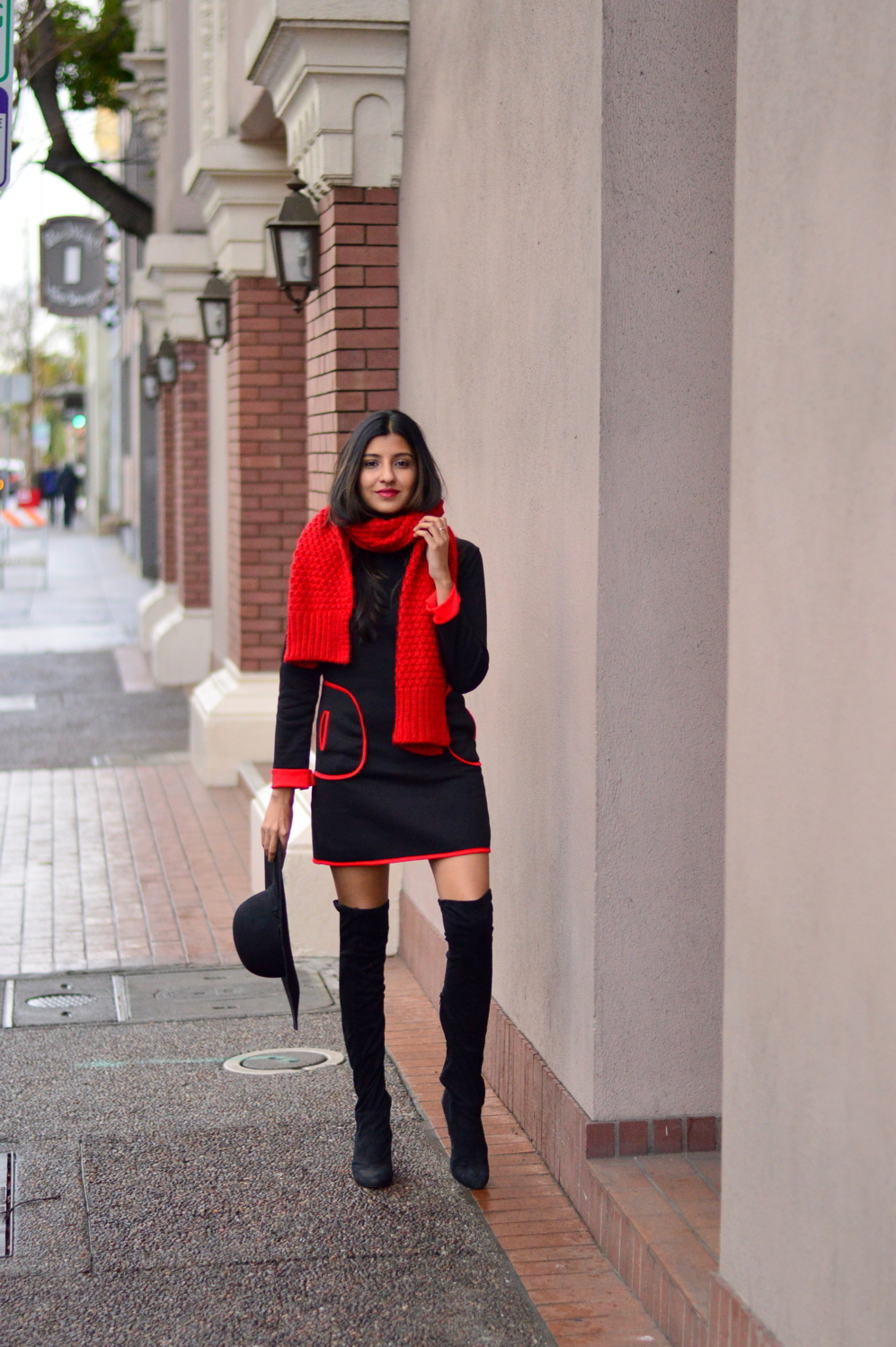 sweater-dress-mod-red-blanket-scarf-winter-style-over-the-knee-boots-blogger-outfit 6