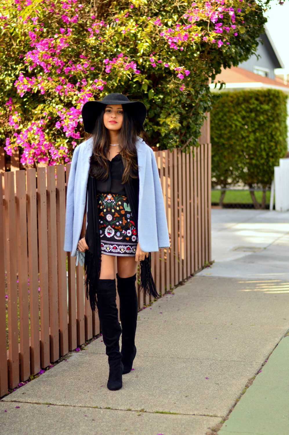 embroidered-skirt-fringe-blouse-winter-layers-blogger-outfit 1