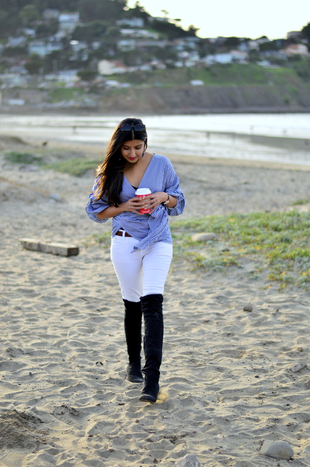 gingham-plaid-wrap-blouse-white-denim-over-the-knee-boots-outfit-style-blogger-beach 3