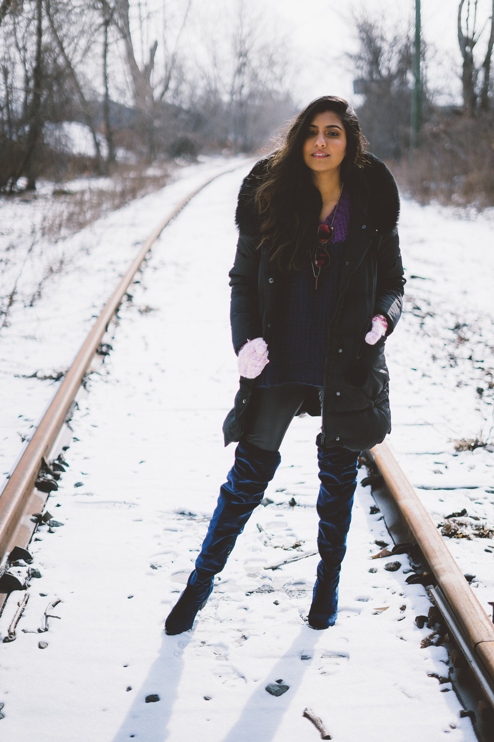 puffer-jacket-velvet-over-the-knee-boots-winter-snow-day-style 1