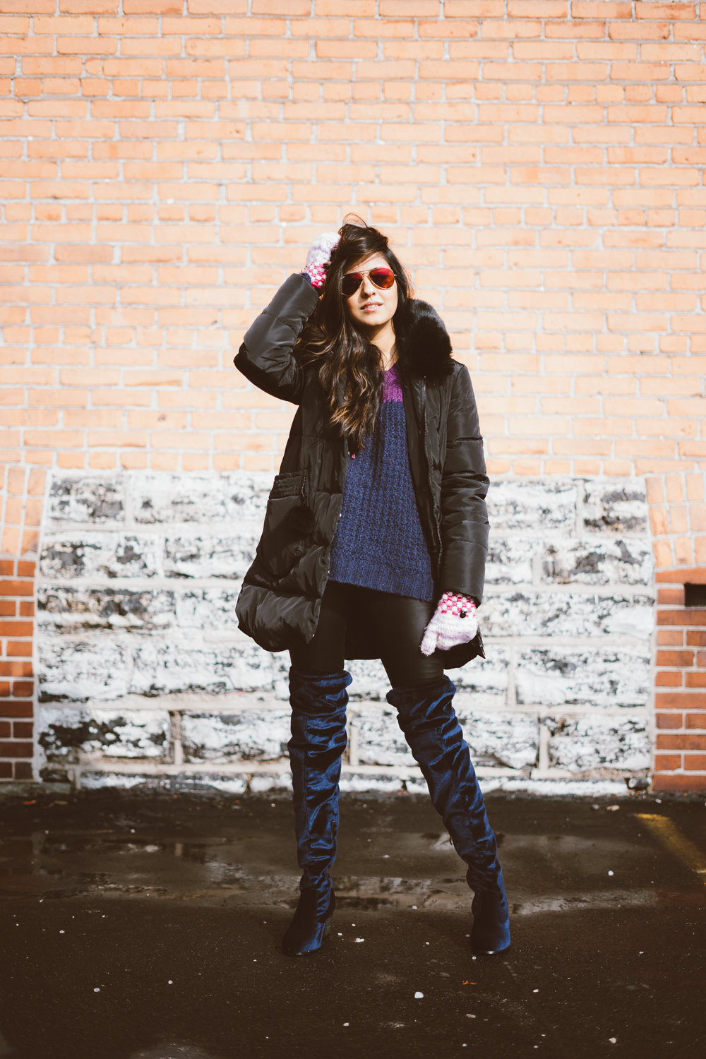 puffer-jacket-velvet-over-the-knee-boots-winter-snow-day-style 8