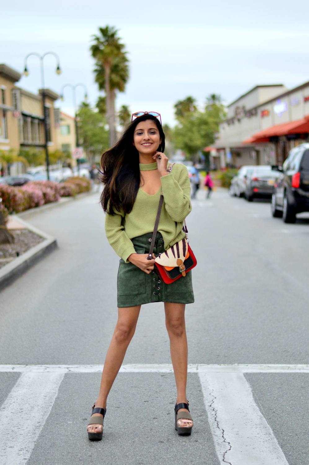 monochrome-green-choker-sweater-suede-lace-up-skirt-spring-style 1