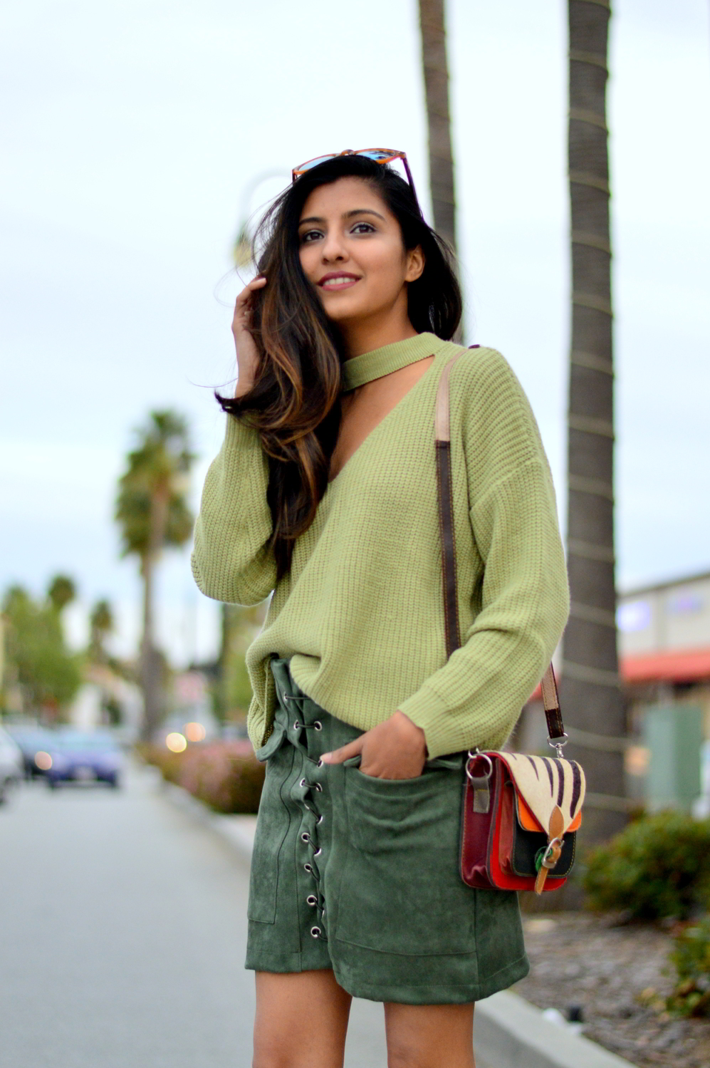 monochrome-green-choker-sweater-suede-lace-up-skirt-spring-blogger-fashion 2