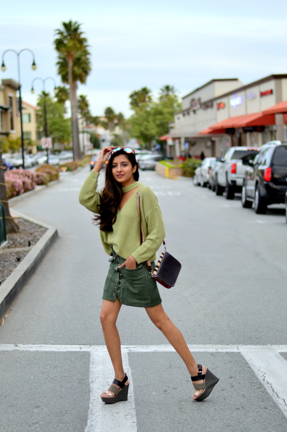 monochrome-green-choker-sweater-suede-lace-up-skirt-spring-outfit-blogger 3