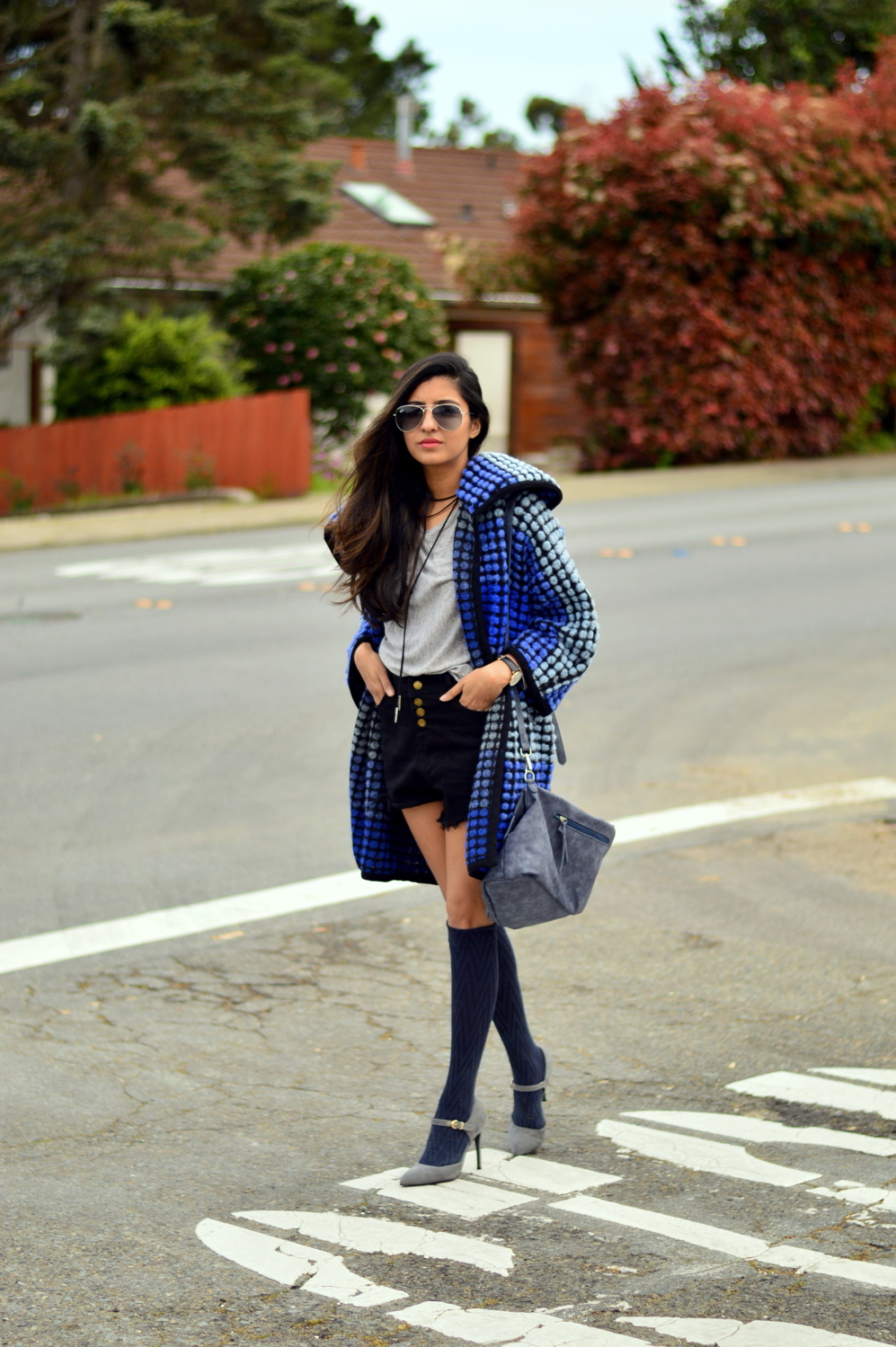 ombre-polka-dots-blue-statement-coat-spring-layers-knee-high-socks-style 4
