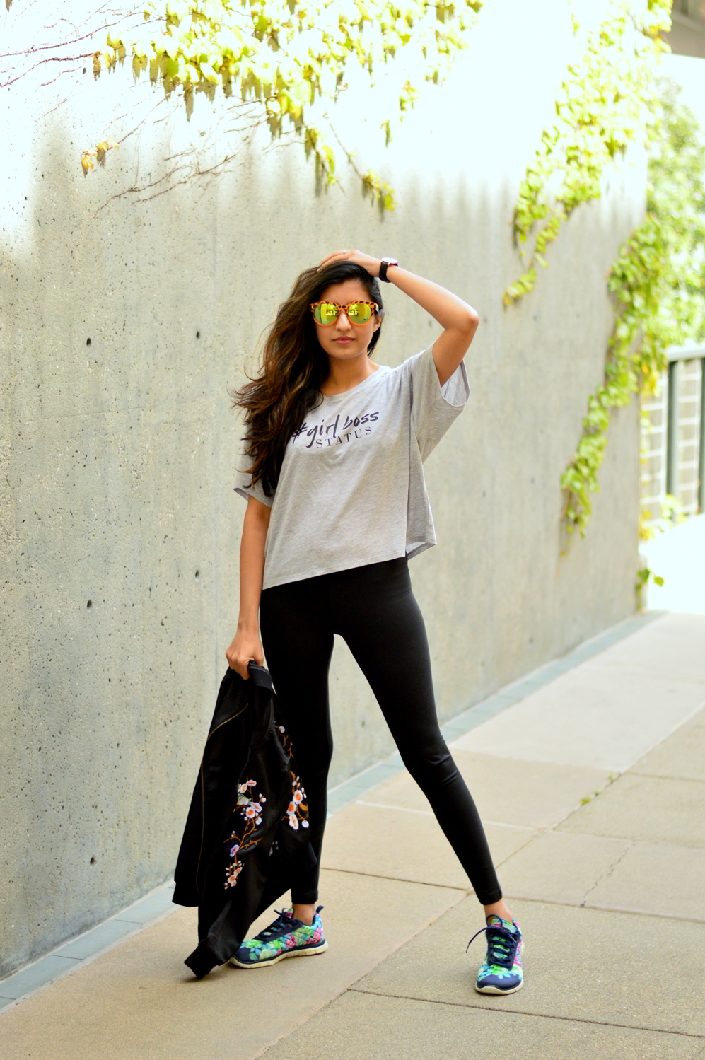 athleisure-girlboss-graphic-tee-weekend-wear-floral-sneakers-casual-blogger-outfit 3