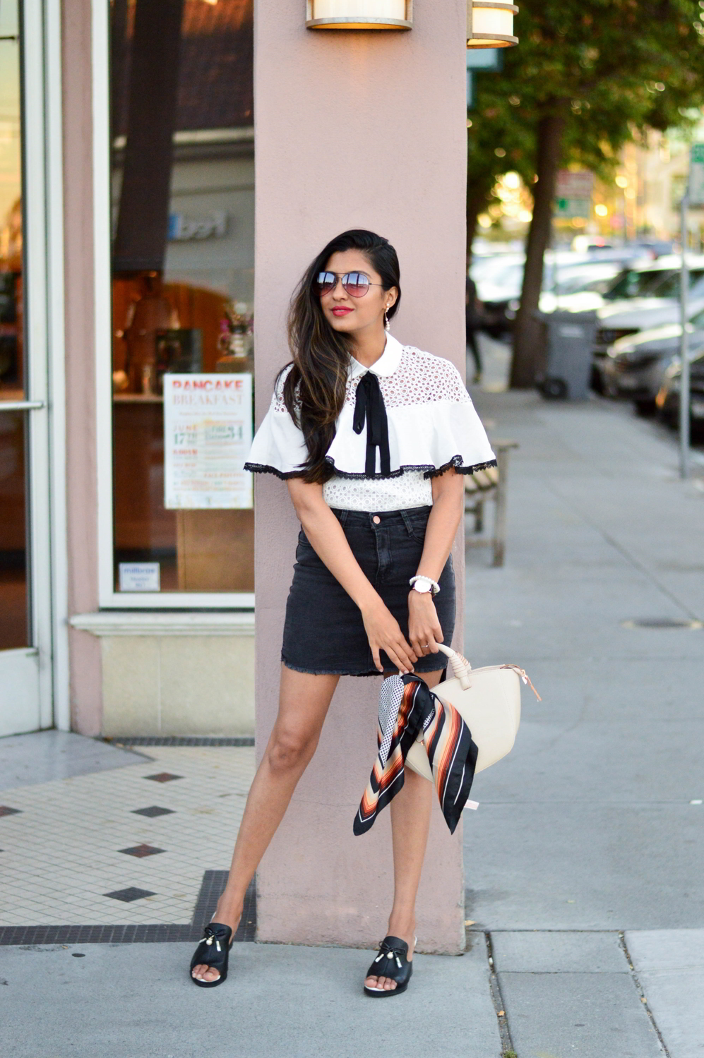 black-denim-white-crochet-lace-preppy-mules-blogger-style 1